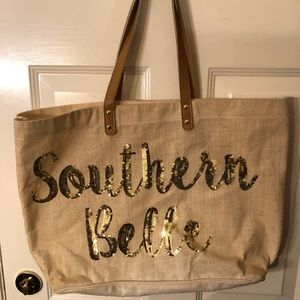 Mudpie Tote with Southern Belle saying in sequins